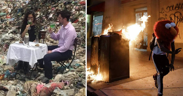 funny pictures | couple eating dinner in landfill - guy wearing elmo costume head running from burning trash cans