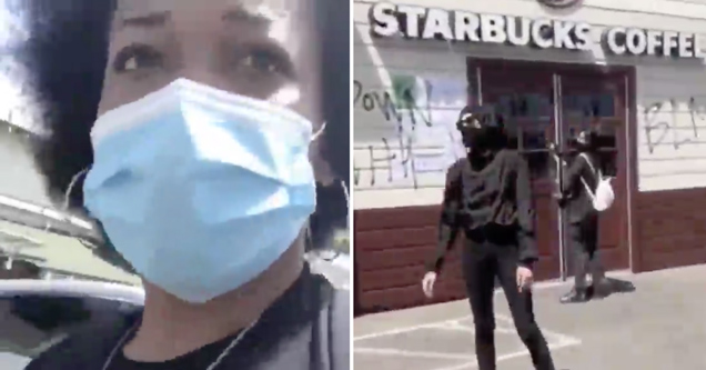 white women vandalizing starbucks black lives matter | women get a reality check after going after a starbucks during the protests