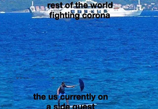 funny memes from the web - rest of the world fighting coronavirus - the us on a side quest