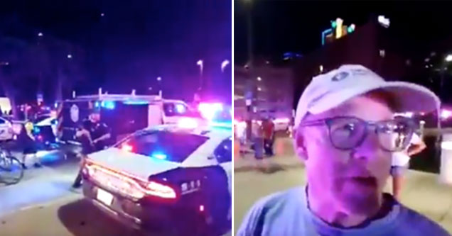 angry guy yelling at the cops in Dallas | a man starts barking at cops during a protest