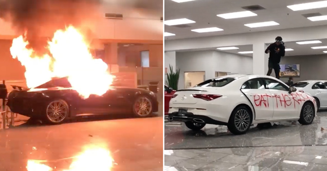oakland mercedes benz dealership burns down | pics of mercedes cars on fire and looted