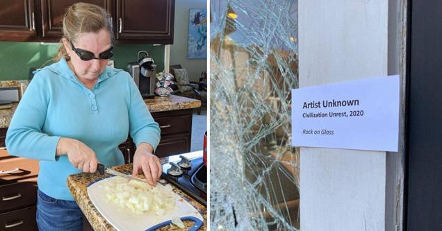 woman wearing swim goggles while cutting onions - broken window artist unknown civilization unrest, 2020