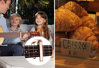dad playing guitar wrong fail - croissant sign fail