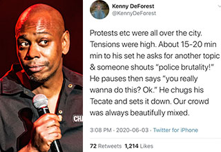 "Dave Chappelle talks, people listen, and in this case, they learn. Chappell has always been able to cut straight through the bs and get to the point no matter the discussion. And in these divisive times, his words are more important than ever. <br><br> And before you go, check out: <a href=""https://www.ebaumsworld.com/videos/miami-police-unveil-their-elite-bike-squad-and-its-kind-of-cringe/86286430/""><strong>Miami PD's Elite Bike Squad Video Became the Laughing Stock of the Internet </strong></a>"