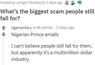 "They say there's a sucker born every minute and considering the number of people still falling for these obvious scams, I believe it! I mean really, how the hell does ANYONE in 2020 still fall for the whole ""Nigerian Prince"" thing? Stupidity truly is a bottomless ocean. <br></br>Knowledge is power, so here are some more <a href=""https://www.ebaumsworld.com/pictures/12-scams-people-still-cant-believe-they-fell-for/85509950/"" target=""_blank"">scams people fell for</a>."