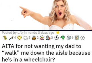 icon - Posted by ubrinmendo 3 days ago 440 05328 Aita for not wanting my dad to | aita for not wanting my dad to walk me down the aisle because he's in a wheelchair