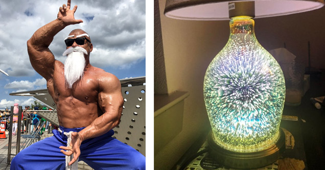 funny monday morning randomness pictures   master roshi cosplay a guy in dragon ball z master cosplay and a cool lamp