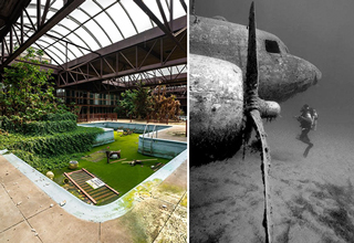 cool pictures of abandoned items |old swimming pool covered in moss - sunken airplane old abandoned plane underwater sunken