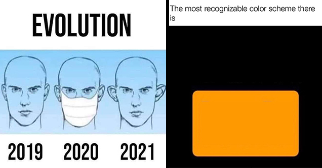 2019 2020 2021 meme mask - Evolution 2019 2020 2021 | orange - The most recognizable color scheme there is