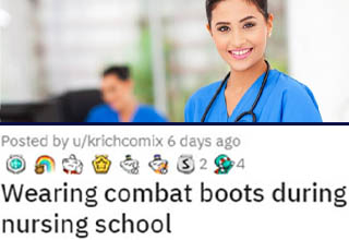 "This is my favorite kind of petty revenge - no shots fired or lives ruined, just a quiet little ""F**k you"" that definitely hits its intended target. An old-school nursing instructor who still pined for the days when nurses wore white skirts and heels gave one student endless grief over her choice to wear army-style combat boots as part of her uniform - despite the fact that these shoes fully adhered to all uniform guidelines and were actually vastly more practical than the clogs most nurses wear. <br></br>She got away with it most of the year, but the graduation ceremony required wearing all white. The instructor thought she'd finally get the <a href=""https://www.ebaumsworld.com/pictures/girl-tries-to-prank-her-mom-but-her-mom-gets-the-last-laugh/85392226/"" target=""_blank"">last laugh</a>. She thought wrong."