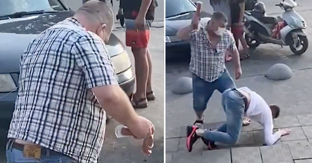 man beaten with sausage | video showing a grocery fight that ends with a sausage fight