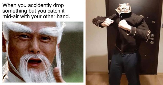 funny pics and memes to browse through the day | pai mei gif - When you accidently drop something but you catch it midair with your other hand.  | cat inside of a mans jacket