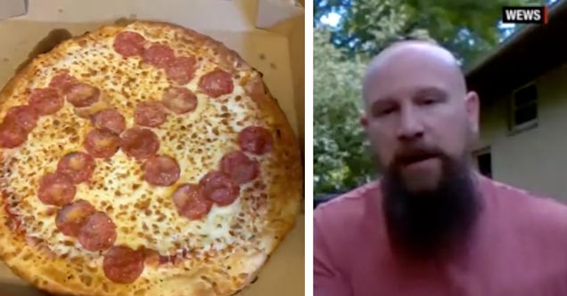 pepperoni swastika | Jason Laska and the Little Caesars pizza he got with a pepperoni Swastika