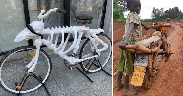 collection of cool and random pictures | skeleton shaped bike frame - wooden motorcycle