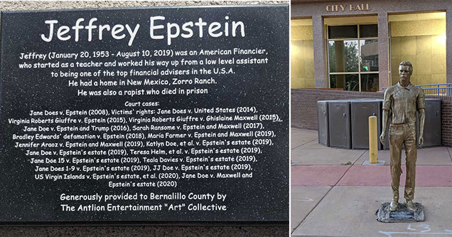 statue of Jeffrey Epstein shows up in New Mexico