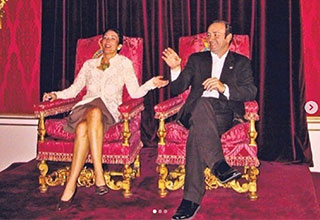 Ghislaine Maxwell and Kevin Spacey sitting in Royal Throne chairs | various celebrities with ghislaine maxwell throughout the years
