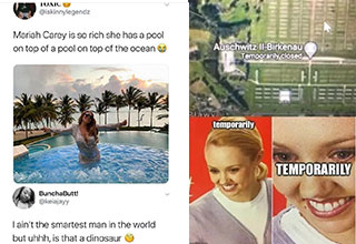 Mariah Carrey memes and a stunned woman's face meme | mariah carey pool - Toxic Mariah Carey is so rich she has a pool on top of a pool on top of the ocean BunchaButt! I ain't the smartest man in the world but uhhh, is that a dinosaur | murder hornet juma