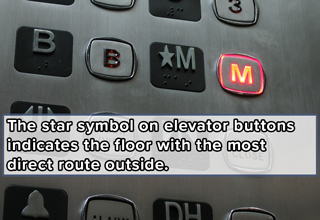 uncommon cool facts | the star symbol on elevator buttons indicates the floor with the most direct route outside.