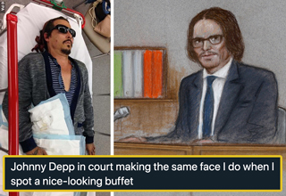 johnny depp in hospital with finger cut - johnny depp in court making the same face I do when I spot a nice-looking buffet