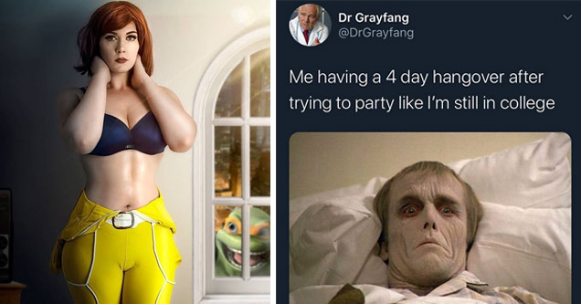 funny pictures, funny memes |april o neil tmnt cosplay | no carbs meme - Dr Grayfang Me having a 4 day hangover after trying to party I'm still in college