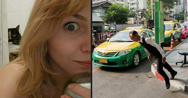 funny pictures | cat behind a woman | tavepong pratoomwong - Sar sky 10,2930