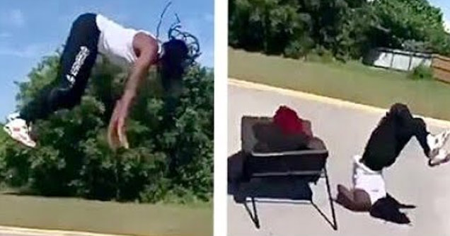 a guy jumping off a table faceplants