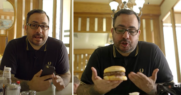 Eater Meat Expert reviews a burger | pretentious burger review by nick solares over a cheeseburger
