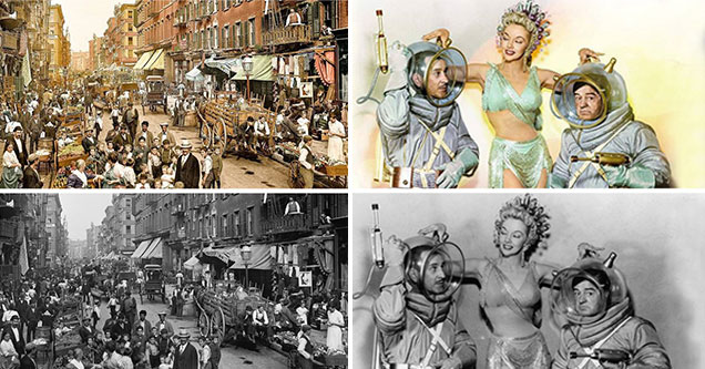 black and white photos touched up with color | mulberry street 1900s new york - Colorized Selle Ua Mo | costello go to mars - Colorized Www Ua o