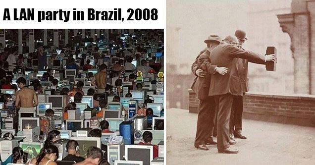fascinating photos - lan party in Brazil and an old guys taking a selfie