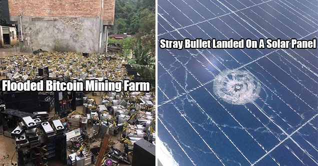 very expensive mistakes that costed people a lot of money | flooded bitcoin mine and a solar panel with a bullet in it