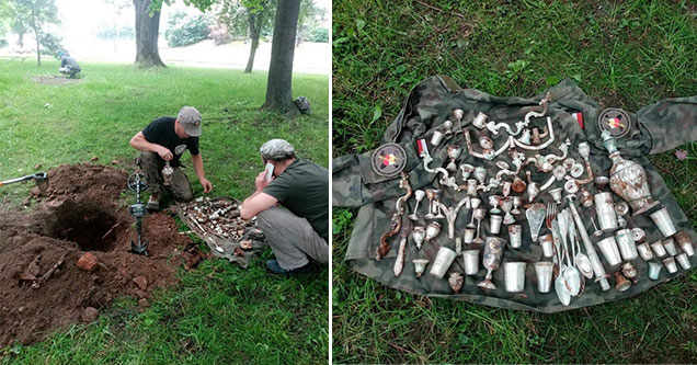 Stolen Nazi treasure found in Poland | The find contains various silver household items, including goblets and cutlery. One hundred and three silver objects were buried in a rusty decaying box. Each product is said to have been made either in Austria or i