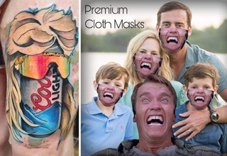coors light with mullet and sunglasses tattoo - premium cloth masks with arnold schwarzenegger's face on them