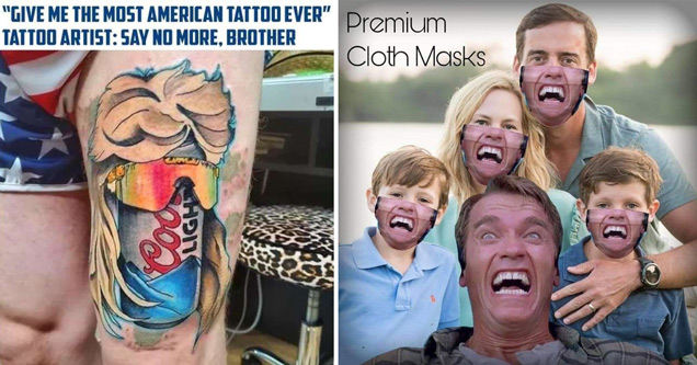 give me the most american tattoo ever tatto artist say no more brother coors light with mullet and sunglasses tattoo - premium cloth masks with arnold schwarzenegger's face on them