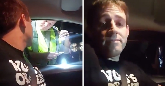 attorney talking to cop at license checkpoint | man doesn't say anything at a police checkpoint