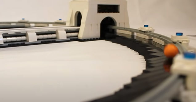 a lego version of the hadron collider | cool video showing a lego particle accelerator