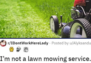 "As far as clapbacks go, this one is pretty savage! This dude was just minding his own business peacefully mowing his lawn when he noticed a young Karen who kept staring at him. Turns out, she wanted him to mow her lawn - which he might have accepted had she not had acres of land she wanted mowed for a measly $10. When he refused, she made some snide remarks about how a 'kid' like him should be grateful, and that's when he hit her with a <a href=""https://www.ebaumsworld.com/pictures/25-comebacks-that-smacked-people-down/86046326/"" target=""_blank"">burn that's probably gonna require some ointment</a>!"