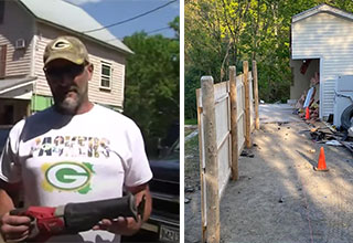 "Gabriel Brawn took the 'Saw' into his own hands and cut down half of his neighbors garage after a years long <a href=""https://www.ebaumsworld.com/pictures/rude-trespasser-gets-a-dog-in-his-boat/86130127/""><strong>property dispute</strong></a> ended when land surveyors said the garage was on his side of the line."