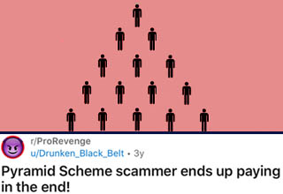 "Pyramid schemes are bad enough by themselves, but it takes a truly awful person to turn that into a job interview. Most people lured in by these kinds of things are generally kind of desperate anyway, but it's really messed up to pretend it's an actual job and have people drive from far away just to realize they're about to get scammed. <br></br>This guy showed up to one such ""interview"" and quickly realized what was happening. He then proceeded to completely ruin the scammer's life, and I for one applaud him for it. <br></br>If that's not enough, here's another <a href=""https://www.ebaumsworld.com/videos/guy-infiltrates-and-exposes-a-local-pyramid-scheme-known-as-wolrd-financial-group/86077340/"" target=""_blank>pyramid scheme</a> that got exposed for filth."
