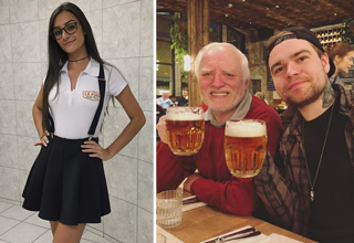 girl wearing short skirt - guy drinking beer with a living meme