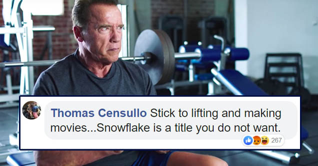 Arnold Schwarzenegger in gym with cell phone | Test score - Thomas Censullo Stick to lifting and making movies... Snowflake is a title you do not want. 267