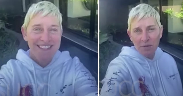 Ellen DeGeneres makes a video inside her mansion