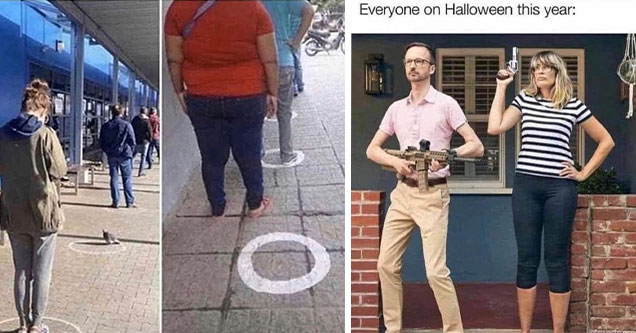 funny memes and pics -  woman not standing in circle and gun couple halloween costume