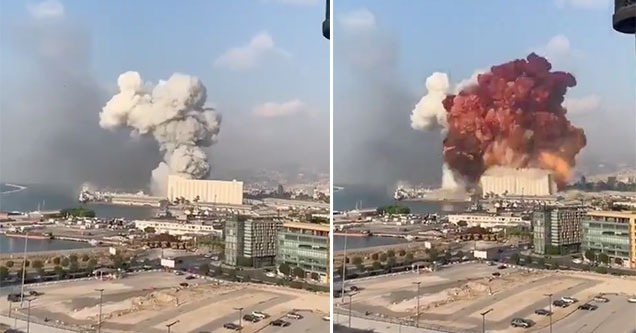 massive explosion in Beirut caught on camera