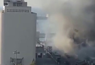 close up video footage of the beirut explosion