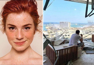 red head model - apartment after beirut lebanon explosion