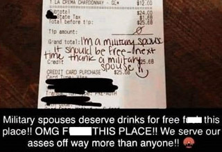 super entitled people - a military wife complaining about not getting free stuff