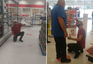 guy scraping social distancing stickers off the floor of a store