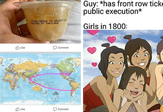 funny memes and pics - fruit map and avatar meme | world map pacific centered - Pears Grown In Argentina Packed In Thailand Comment The World Comment | avatar fangirls - Guy has front row tickets of the public execution Girls in 1800