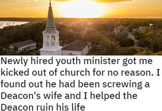 """He was hardly acting like a man of God, and ended up receiving some righteous retribution. <br></br>Church life can be a blessing, but it's sadly too often marred by petty squabbles and politics. A lot of Christians tend to act in decidedly un-Christian ways behind closed doors, and it just ruins things for everybody. Thankfully, <a href=""""https://www.ebaumsworld.com/videos/impatient-driver-gets-a-crash-course-in-instant-karma/85349504/"""" target=""""_blank"""">karma</a> always catches up!"""