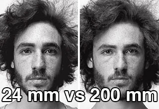 24 mm vs 200 mm camera perspectives